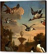 Mallard Golden Eagle Wild Fowl In Flight Canvas Print by Melchior de Hondecoeter