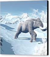 Mammoths Walking Slowly On The Snowy Canvas Print by Elena Duvernay