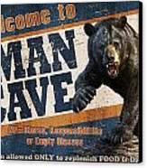 Man Cave Balck Bear Canvas Print by JQ Licensing
