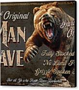 Man Cave Grizzly Canvas Print by JQ Licensing