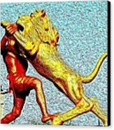 Man Fighting With Lion Bravery Canvas Print by Deepti Chahar
