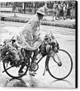 Man Riding Bicycle Carrying Chickens Canvas Print by Stuart Corlett
