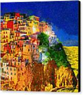 Manarola By Night Canvas Print by George Rossidis