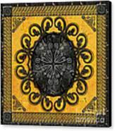 Mandala Obsidian Cross Canvas Print by Bedros Awak