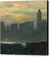 Manhattans Misty Sunset Canvas Print by Childe Hassam