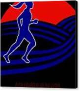 Marathon Runner Female Pushing Limits Poster Canvas Print by Aloysius Patrimonio