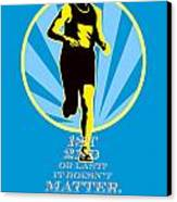 Marathon Runner First Retro Poster Canvas Print by Aloysius Patrimonio