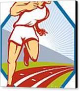 Marathon Runner Running Race Track Retro Canvas Print by Aloysius Patrimonio