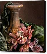Marble Vase With Lilies Canvas Print by Hugo Bussen