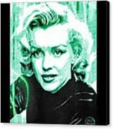 Marilyn Monroe - Green Canvas Print by Absinthe Art By Michelle LeAnn Scott