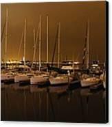 Marina At Night Canvas Print by Jenny Hudson