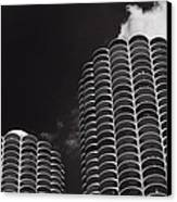 Marina City Morning B W Canvas Print by Steve Gadomski