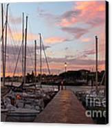 Marina In Desenzano Del Garda Sunrise Canvas Print by Kiril Stanchev