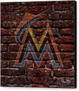 Marlins Baseball Graffiti On Brick  Canvas Print by Movie Poster Prints