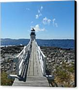 Marshall Point Lighthouse From Shoreline Canvas Print by Joseph Rennie