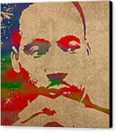 Martin Luther King Jr Watercolor Portrait On Worn Distressed Canvas Canvas Print by Design Turnpike