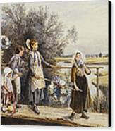 May Day Garlands Canvas Print by Myles Birket Foster