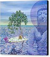 Meditation On Buddha Blue Canvas Print by Dominique Amendola