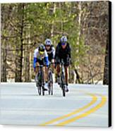Men In A Bike Race Canvas Print by Susan Leggett