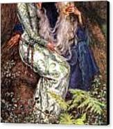 Merlin And Vivien Canvas Print by Eleanor Fortescue Brickdale