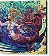 Mermaid Gargoyle Canvas Print by Genevieve Esson