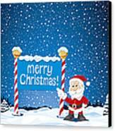 Merry Christmas Sign Santa Claus Winter Landscape Canvas Print by Frank Ramspott