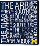 Michigan College Colors Subway Art Canvas Print by Replay Photos