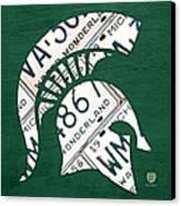 Michigan State Spartans Sports Retro Logo License Plate Fan Art Canvas Print by Design Turnpike