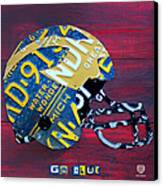 Michigan Wolverines College Football Helmet Vintage License Plate Art Canvas Print by Design Turnpike