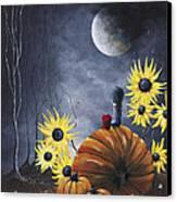 Midnight In The Pumpkin Patch By Shawna Erback Canvas Print by Shawna Erback