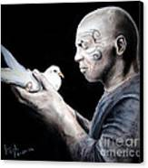 Mike Tyson And Pigeon Canvas Print by Jim Fitzpatrick