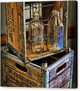 Milk Bottles And Crates Canvas Print by Lee Dos Santos