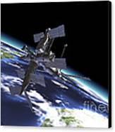 Mir Russian Space Station In Orbit Canvas Print by Leonello Calvetti