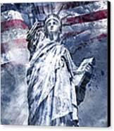 Modern Art Statue Of Liberty Blue Canvas Print by Melanie Viola