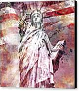 Modern Art Statue Of Liberty Red Canvas Print by Melanie Viola