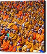 Monk Mass Alms Giving In Bangkok Canvas Print by Fototrav Print