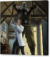 Monster In Victorian Science Laboratory Canvas Print by Martin Davey