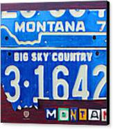 Montana License Plate Map Canvas Print by Design Turnpike