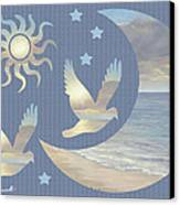 Moon And Stars Canvas Print by Diane Romanello