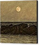 Moon Fishing Canvas Print by Steven Parks