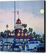 Moon Over Coronado Boathouse Canvas Print by Mary Helmreich