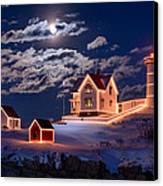 Moon Over Nubble Canvas Print by Michael Blanchette