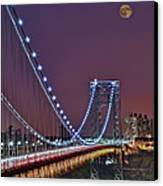 Moon Rise Over The George Washington Bridge Canvas Print by Susan Candelario