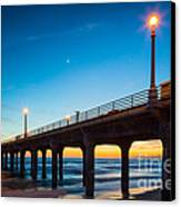 Moonlight Pier Canvas Print by Inge Johnsson
