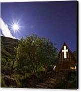 Moonrise Chapel Canvas Print by Aaron S Bedell