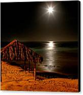 Moonset Over Windnsea Canvas Print by Peter Tellone