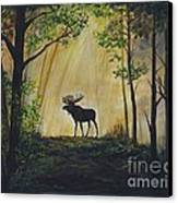 Moose Magnificent Canvas Print by Leslie Allen