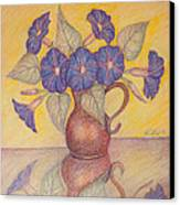 Morning Glories With Yellow Background Canvas Print by Claudia Cox