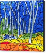 Mosaic Stained Glass - My Woods Canvas Print by Catherine Van Der Woerd