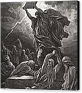 Moses Breaking The Tablets Of The Law Canvas Print by Gustave Dore